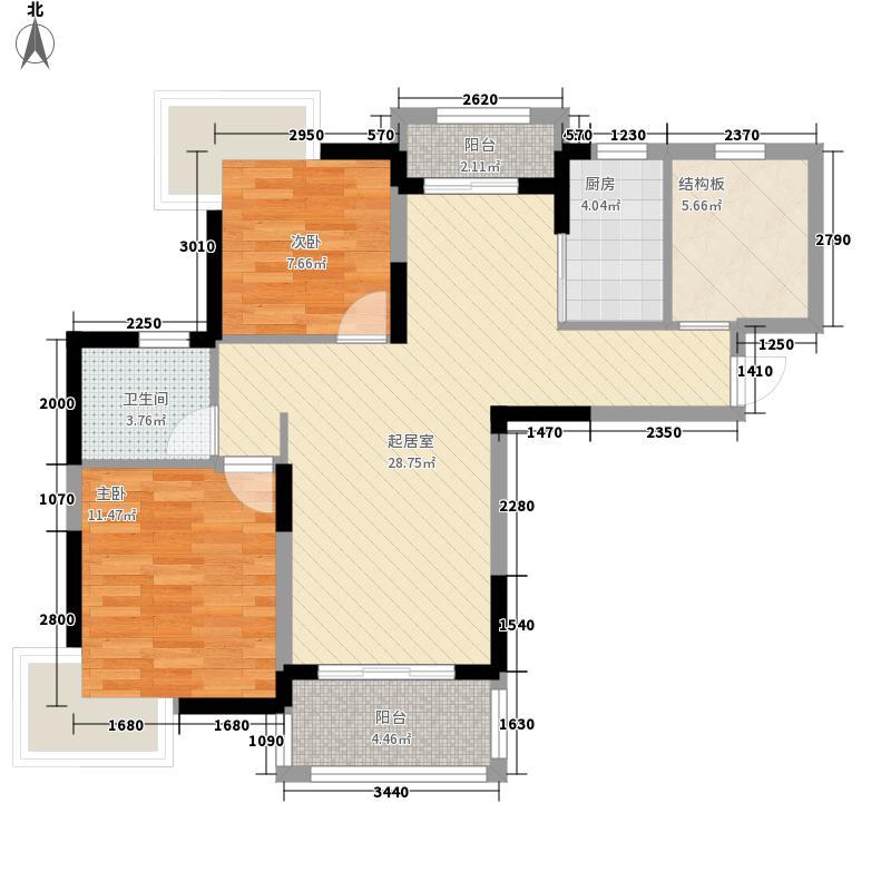 丰源淳和98.00㎡二期11#12#13#14#户型2室2厅1卫1厨