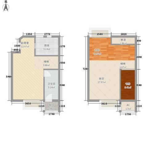 高巢1室0厅1卫1厨71.55㎡户型图