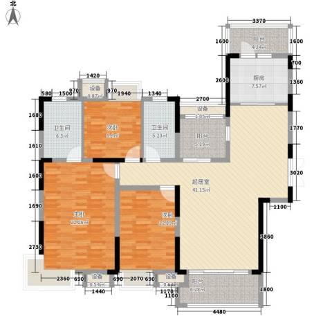 恒基九珑天誉3室0厅2卫1厨155.00㎡户型图