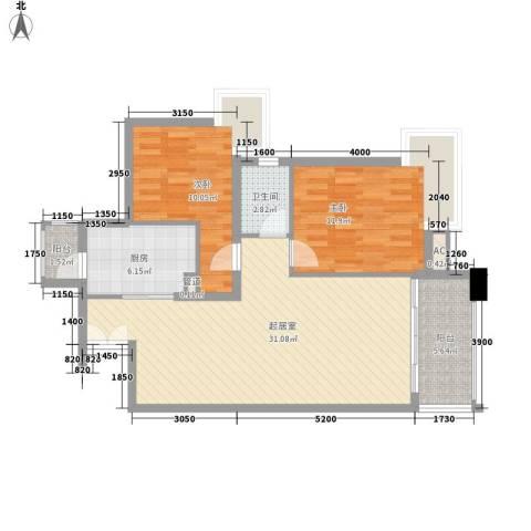 金域中央天越2室0厅1卫1厨99.00㎡户型图