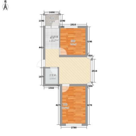 田园新城2室0厅1卫0厨56.00㎡户型图