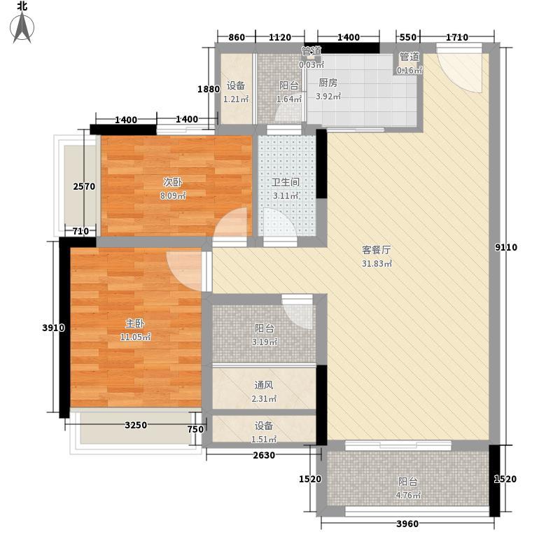 加州花园(万江)40.00㎡加州花园(万江)2室户型2室