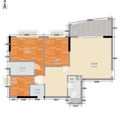 颐秀华庭3室0厅2卫1厨136.00㎡户型图