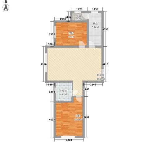 泰莱枫尚2室0厅1卫1厨92.00㎡户型图