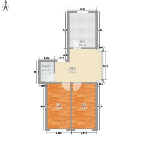田园新城2室0厅1卫1厨60.00㎡户型图