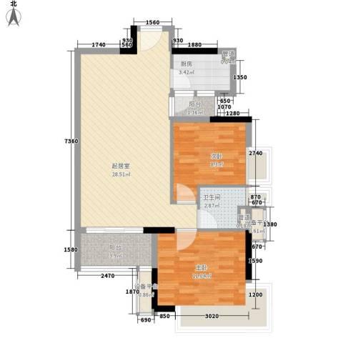 新世纪广场2室0厅1卫1厨79.00㎡户型图