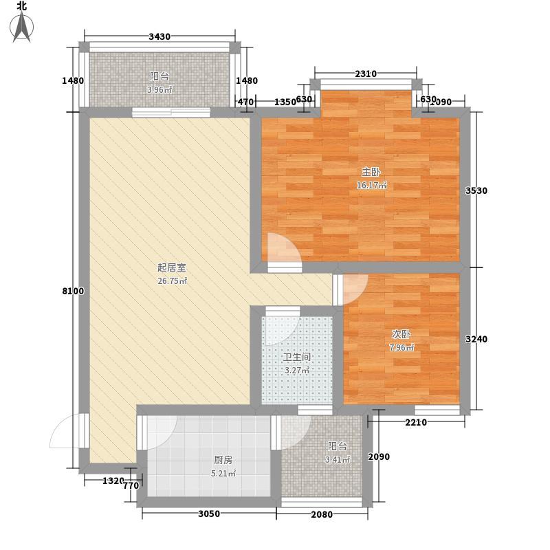 西区御景84.58㎡西区御景84.58㎡2室2厅1卫1厨户型2室2厅1卫1厨