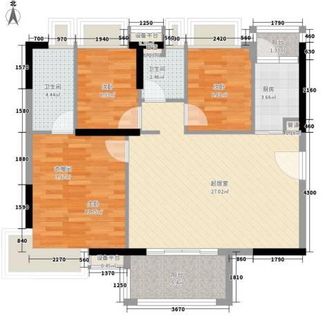 新世纪广场3室0厅2卫1厨91.00㎡户型图