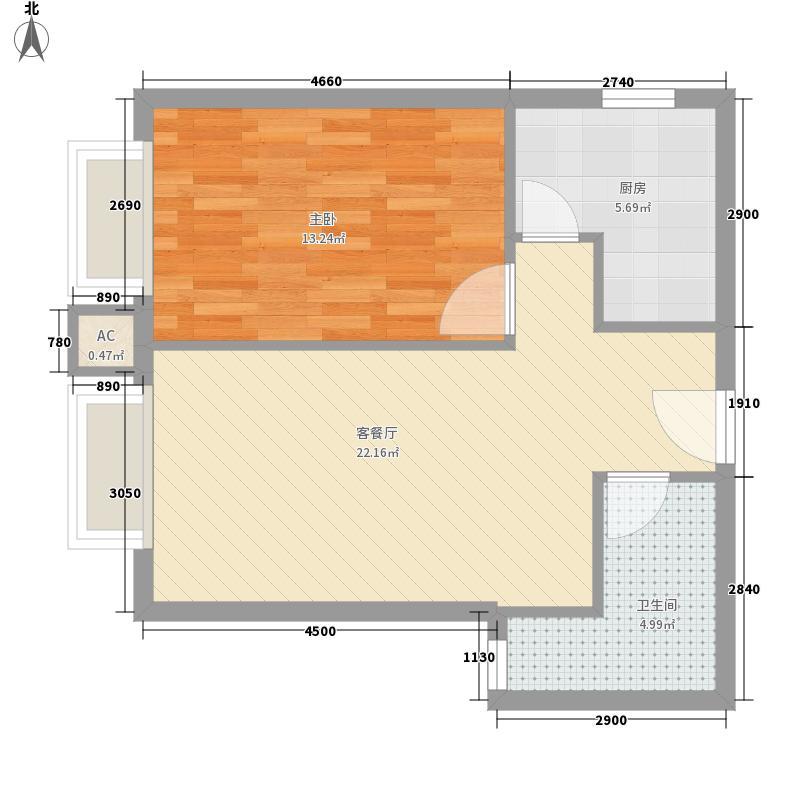 凤凰国际66.35㎡凤凰国际户型图b51室1厅1卫1厨户型1室1厅1卫1厨