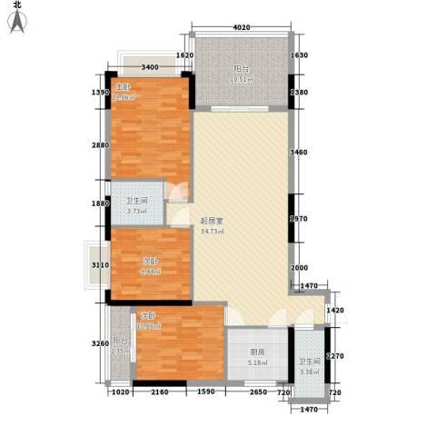 颐秀华庭3室0厅2卫1厨134.00㎡户型图