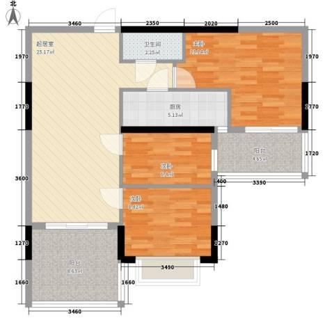 颐秀华庭3室0厅1卫1厨105.00㎡户型图