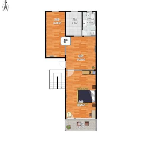 中德亚运村2室1厅1卫1厨83.00㎡户型图