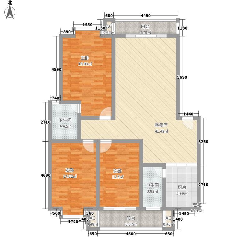 大龙家园11.12㎡3#J型户型3室2厅2卫1厨