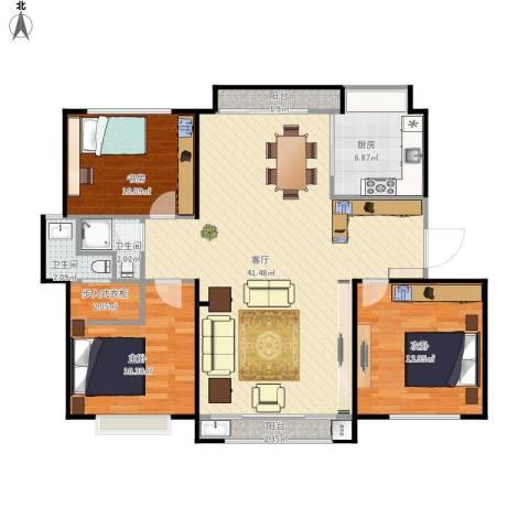 公园30003室1厅2卫1厨125.00㎡户型图