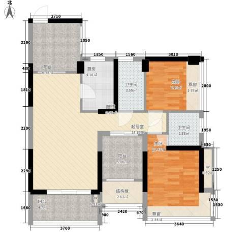 潜龙曼海宁二期2室0厅2卫1厨85.00㎡户型图