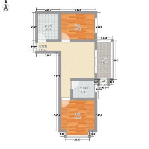 迎西城・龙湾佳园2室0厅2卫0厨67.00㎡户型图