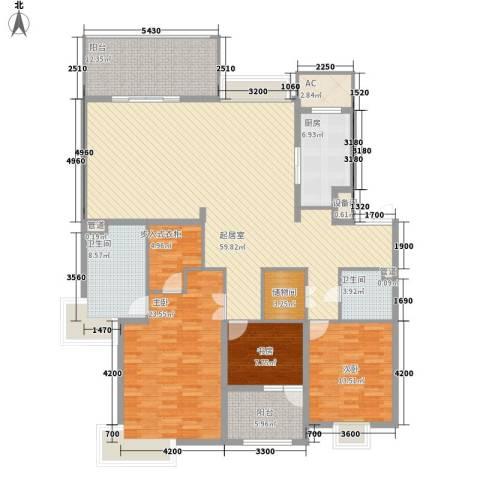 天正滨江3室0厅2卫1厨184.00㎡户型图