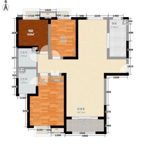 卓越繁华里3室0厅2卫1厨131.00㎡户型图