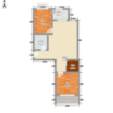 仁和佳苑3室1厅1卫1厨89.00㎡户型图