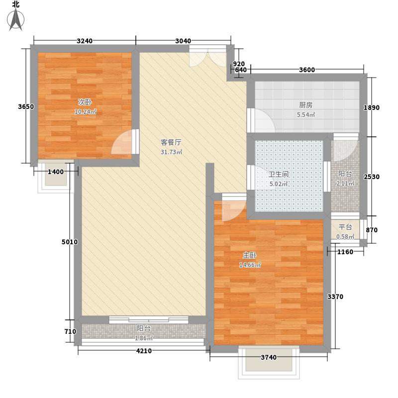 天庆嘉园C区太阳岛90.75㎡A3型户型2室2厅1卫1厨