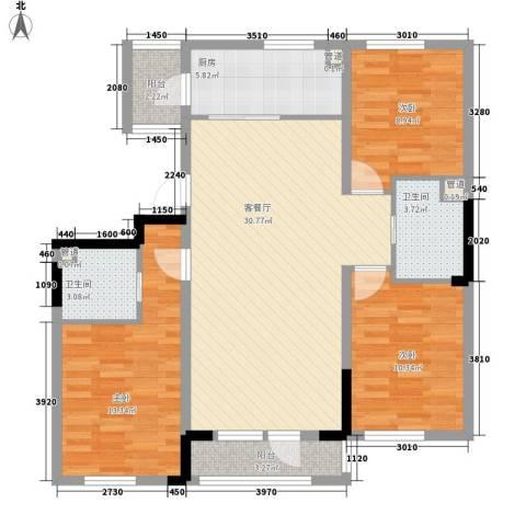 多恩居住岛3室1厅2卫1厨117.00㎡户型图