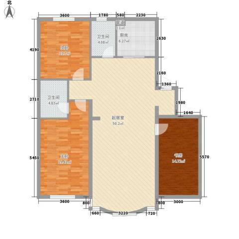 五彩新村3室0厅2卫1厨125.14㎡户型图