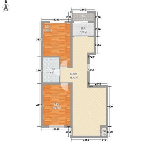 浅草绿阁三期2室0厅1卫1厨105.00㎡户型图