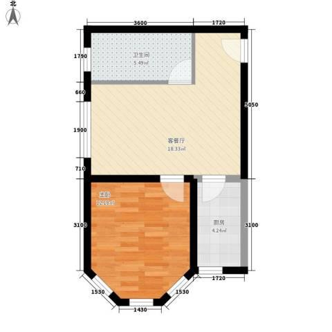 乡居假日1室1厅1卫1厨62.00㎡户型图