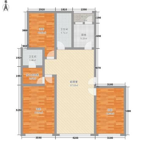 五彩新村3室0厅2卫1厨115.00㎡户型图