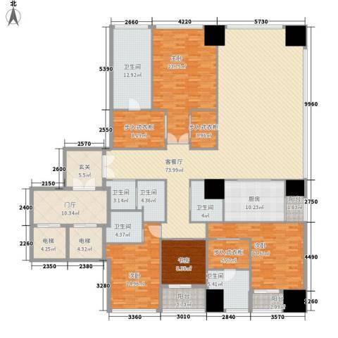 融创玖玺台2号楼E户型4室1厅6卫1厨265.00㎡户型图