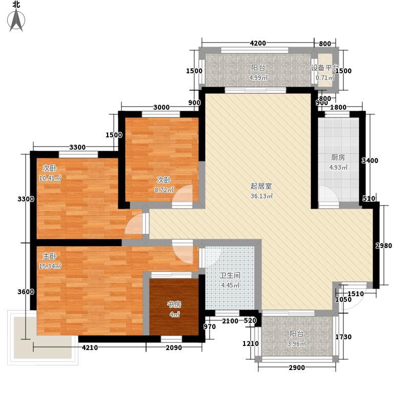 荣成家园A户型:四房两厅两卫,137.85平米_调整大小户型4室