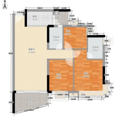 朗悦君廷3室1厅2卫1厨108.00㎡户型图