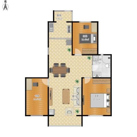 正大江南水乡3室1厅1卫1厨125.00㎡户型图