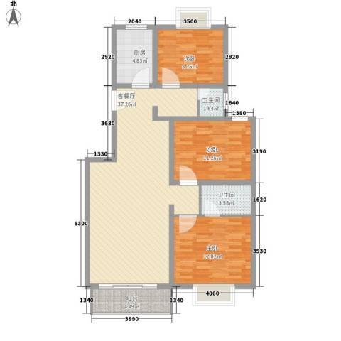 宝庆金都3室1厅2卫1厨121.00㎡户型图