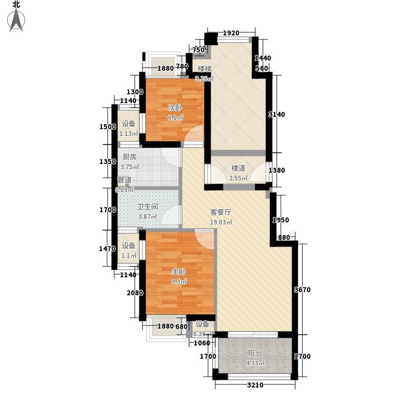 保利林语溪90.00㎡A户型2室2厅1卫