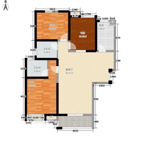 万华园丽景华都3室1厅2卫1厨110.00㎡户型图