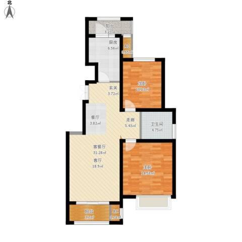 海亮・院里2室1厅1卫1厨87.76㎡户型图