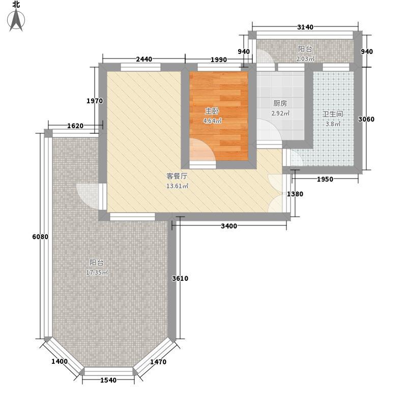 天庆嘉园C区太阳岛66.59㎡A1c型户型1室1厅1卫1厨