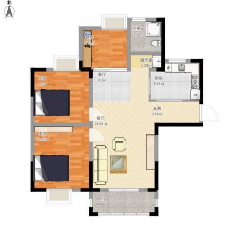 蚌埠琥珀新天地3室1厅1卫1厨97.00㎡户型图