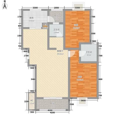 美兰湖颐景园别墅2室1厅2卫1厨103.00㎡户型图