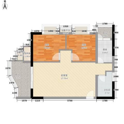聚维书香世家2室0厅1卫1厨63.00㎡户型图
