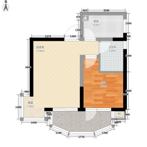 椰海花园1室0厅1卫1厨57.00㎡户型图