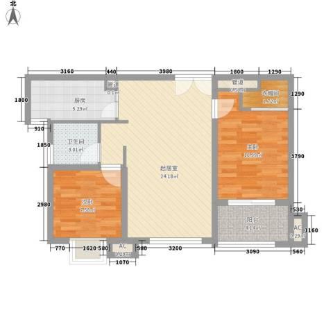 揽月国际广场2室0厅1卫1厨85.00㎡户型图