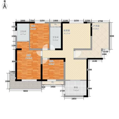 麓江春3室0厅2卫1厨129.00㎡户型图