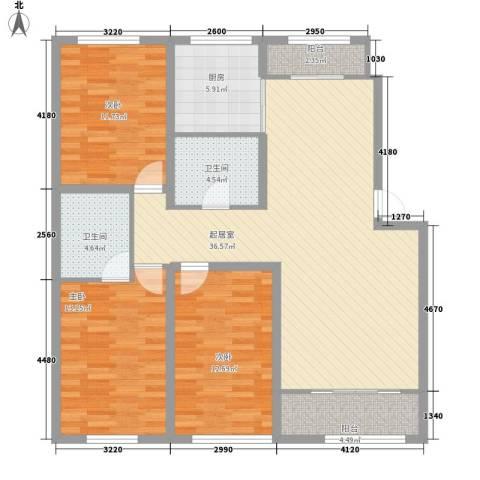 都市左岸3室0厅2卫1厨136.00㎡户型图