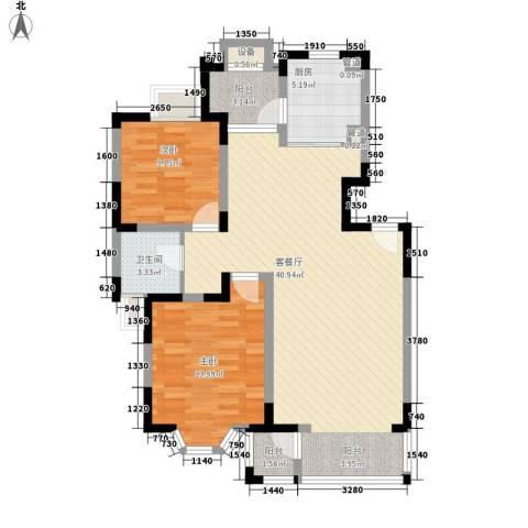 景湖春晓2室1厅1卫1厨130.00㎡户型图