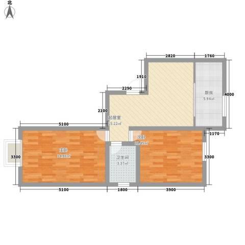 园东小区2室0厅1卫1厨73.00㎡户型图