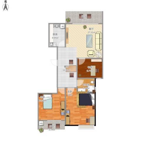 正和城3室1厅1卫1厨90.00㎡户型图