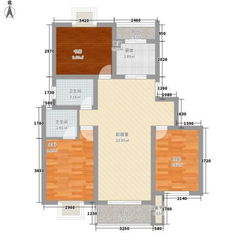 方圆华庭3室0厅2卫1厨98.00㎡户型图