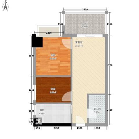 景湖春晓2室1厅1卫1厨61.00㎡户型图